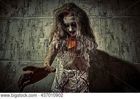 Horror scene of a creepy obsessed woman covered with blood stretching out her hands to the camera, standing in a dark room. Bloodthirsty zombie woman. Horror movie, thriller. Halloween.