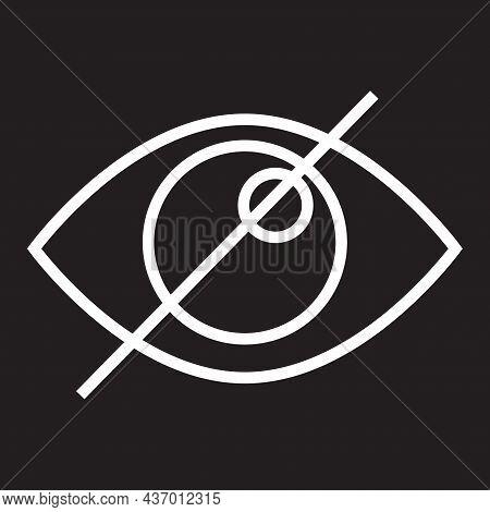 Dont Watch Icon. Black Backdrop. Visibility Concept. Confidential Symbol. Private Sign. Vector Illus
