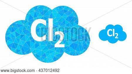 Lowpoly Chlorine Cloud Icon On A White Background. Flat Geometric Polygonal Illustration Based On Ch