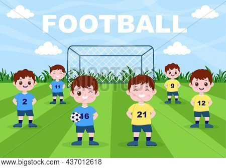 Playing Football With Boys Play Soccer Wear Sports Uniform Various Movements Such As Kicking, Holdin