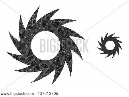 Low-poly Circular Cutter Icon On A White Background. Flat Geometric 2d Modeling Illustration Based O