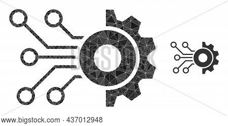 Low-poly Gear Circuit Icon On A White Background. Flat Geometric Polygonal Illustration Based On Gea