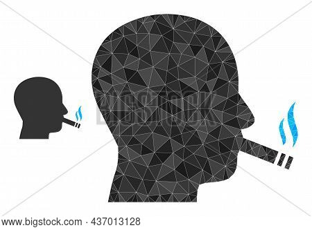 Lowpoly Cigarette Smoker Icon On A White Background. Flat Geometric Lowpoly Abstraction Based On Cig