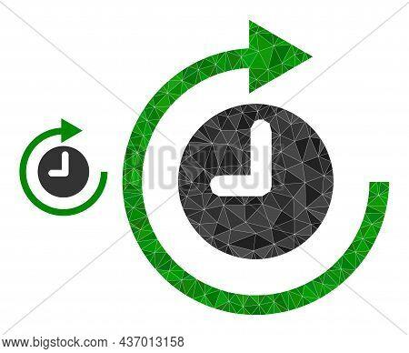 Lowpoly Clockwise Rotation Icon On A White Background. Flat Geometric Lowpoly Illustration Based On