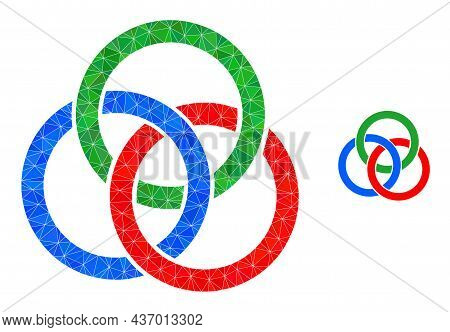 Lowpoly Circle Links Knot Icon On A White Background. Flat Geometric Polygonal Illustration Based On