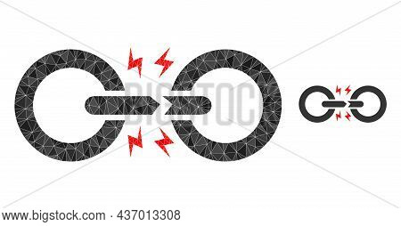 Low-poly Broken Chain Link Icon On A White Background. Flat Geometric Polygonal Abstraction Based On