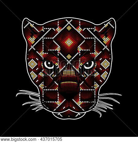 Vector Illustration Of Colorful Beaded Wild Cat Head Which Could Be A Jaguar, Cougar, Leopard, Etc.