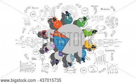 Business Brainstorming Plan,think,search,analyze, For Success With Percent,graph Percent,step, Color