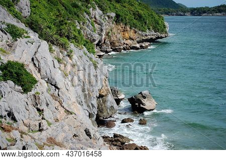 View Landscape Seascape And Cliff Of Ko Sichang Island Mountain With Wave Sea Ocean Beach For Thai P