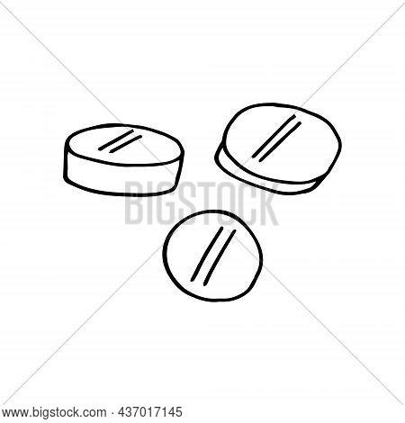 Pills Hand Drawn Doodle. Vector, Scandinavian, Nordic, Minimalism Monochrome Icon Sticker