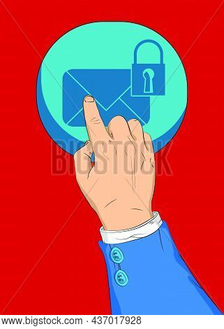Sending Encrypted E-mail Protection Blue Secure Mail Internet Symbol With Front Door Background. Bar