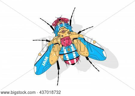 Bright Big Fly Vector Illustration. Fly Insect Made Of Metal Flat Style. Colourful Electrical Bug. T