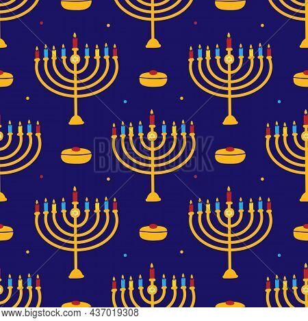 Dark Blue Hanukkah Vector Seamless Pattern Background With Menorah, Lighting Candles And Sufganiyot.