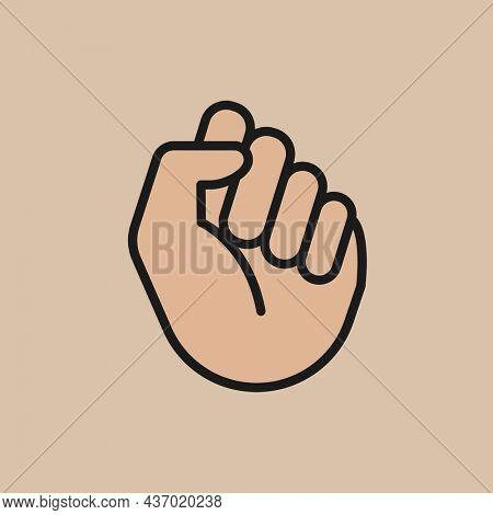 White fist icon, human right symbol flat design illustration