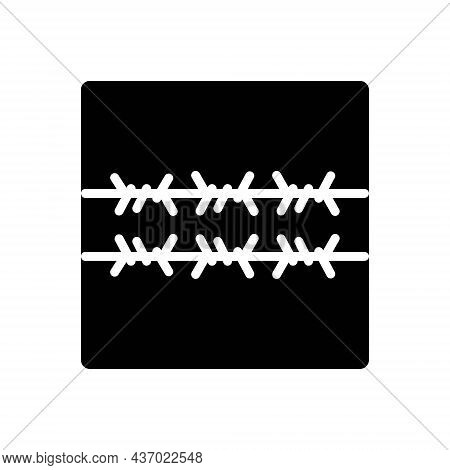 Black Solid Icon For Wiring Barbed Wire Fence Barb-wire Barrier Frame Iron-wire