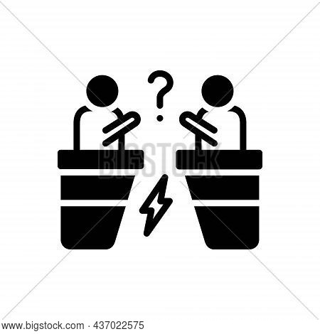 Black Solid Icon For Arguments Aggression Conflict Arguing Discussion Fight
