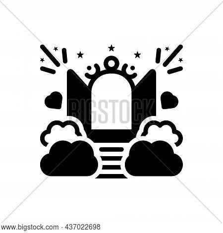 Black Solid Icon For Paradise Heaven Eden Empyrean Nature