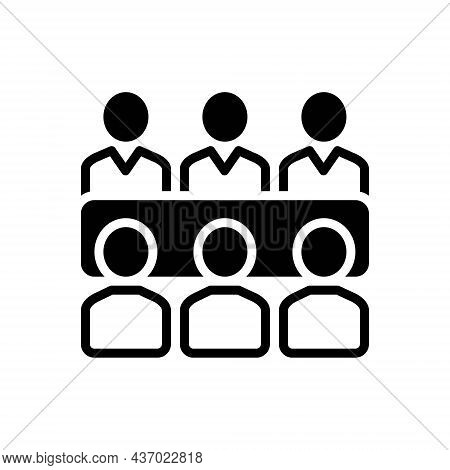 Black Solid Icon For Meets People Talk Adjoin Converge Conjoin Conference Gather