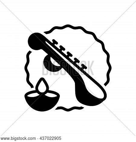 Black Solid Icon For Basant-panchami Goddess Saraswati Instrument Saraswati-puja Veena Festival Cult