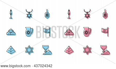 Set Line Egypt Pyramids, Star Of David, Burning Candle In Candlestick, Jewish Goblet Hanukkah Sufgan