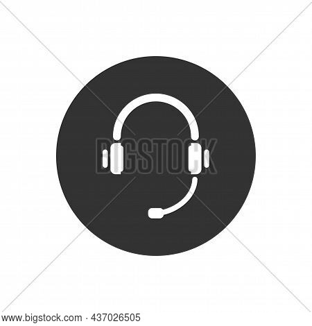 Headset Related Vector Glyph Icon. Support Service Icon, Hotline Customer Advice, Call Center Help.