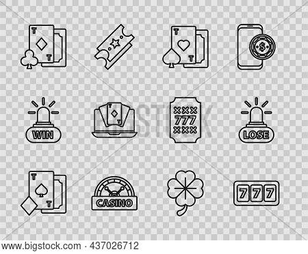 Set Line Playing Card With Spades, Slot Machine Lucky Sevens Jackpot, Heart, Casino Signboard, Diamo