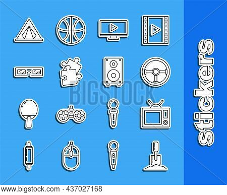 Set Line Shovel In The Ground, Television, Steering Wheel, Online Play Video, Piece Of Puzzle, 3d Ci