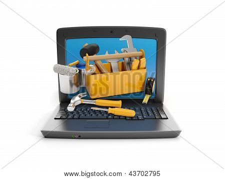 3D Illustration: Laptop And A Group Of Instruments. Technical Support