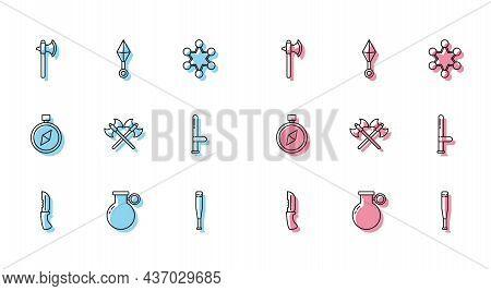 Set Line Military Knife, Hand Grenade, Medieval Axe, Baseball Bat, Crossed Medieval Axes, Police Rub