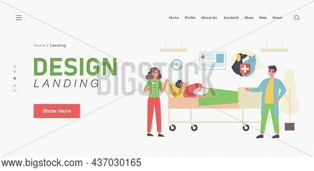 Cartoon Medical Workers, Patient Lying In Bed With Cat. Flat Vector Illustration. Doctors Conducting