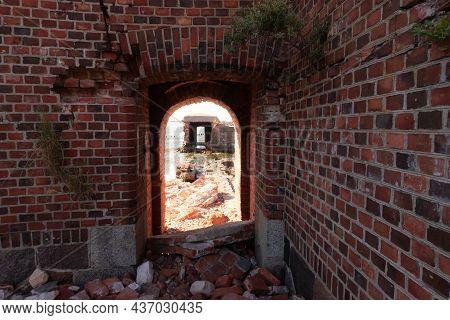Ruins Of A Brick Walls Building. Old Ruined Fortress. Stock Photo. Baltic Sea, Kaliningrad Region, R