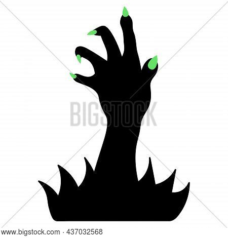 Silhouette Of A Paw With Green Claws. The Dead Man's Hand Is Selected From The Thicket Of Grass. Gna
