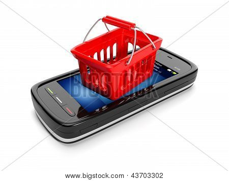 3D Illustration: Mobile Teleyon And Shopping Basket. Sale Purchase Of Goods Via Mobile Web