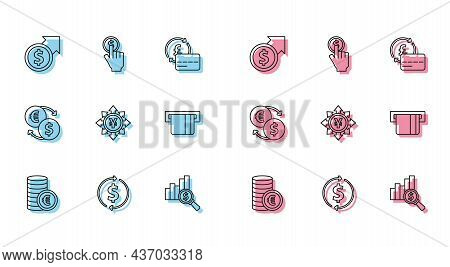 Set Line Coin Money With Euro Symbol, Financial Growth And Dollar, Pie Chart, Yen, Credit Card Inser