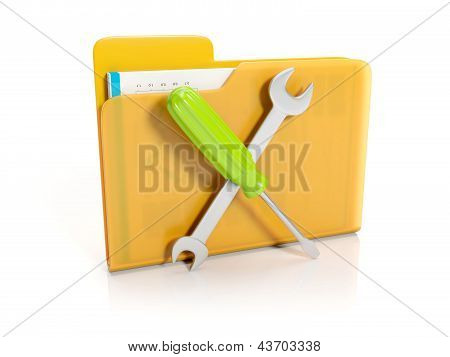 3D Illustration: Big Yellow Folder With A Screwdriver And Wrench