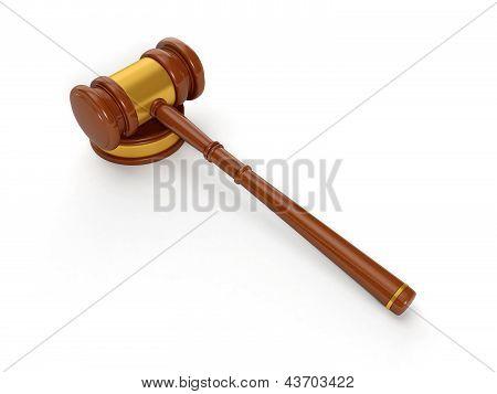 3D Illustration: Judicial Hammer, Solution Of Judicial Problems