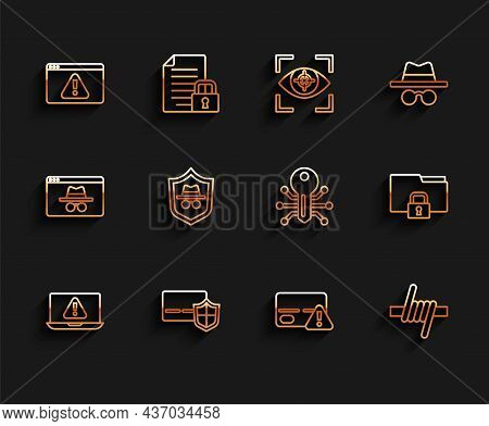 Set Line Laptop With Exclamation Mark, Credit Card Shield, Browser, Barbed Wire, Incognito Mode, Fol