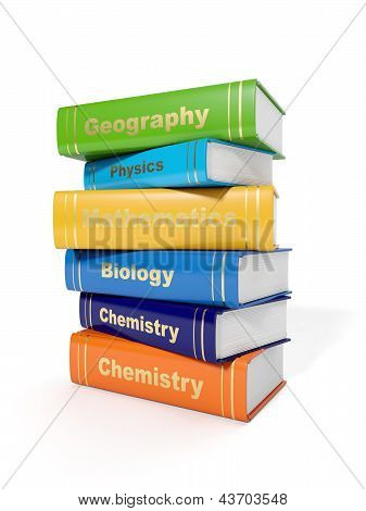 3D Illustration: Secondary School Textbooks On A White Background
