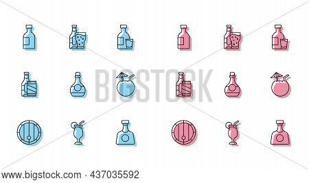 Set Line Wooden Barrel, Cocktail, Glass Bottle Of Vodka, Tequila, Bottle Cognac Or Brandy, Coconut C