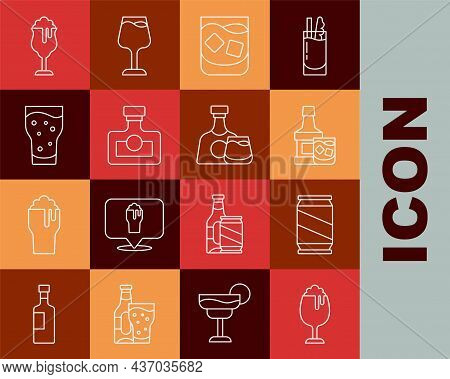 Set Line Glass Of Beer, Beer Can, Whiskey Bottle And Glass, Whiskey, Alcohol Drink Rum, And Icon. Ve