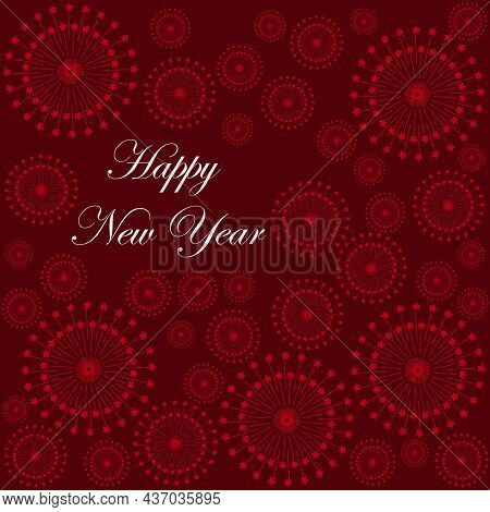 Happy New Year Typographic On A Red Background With Fireworks Texture. New Year Card. Vector Illustr
