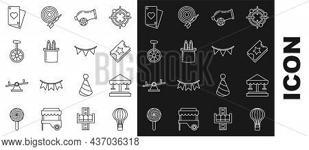 Set Line Hot Air Balloon, Attraction Carousel, Ticket, Cannon, Magician Hat And Rabbit Ears, Unicycl