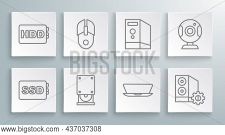 Set Line Ssd Card, Computer Mouse, Optical Disc Drive, Laptop, Case Of Computer, Web Camera And Hard