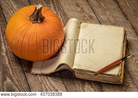retro, blank, leather-bound journal with a stylish pen and  pumpkin against rustic wood, fall holiday and Thanksgiving theme