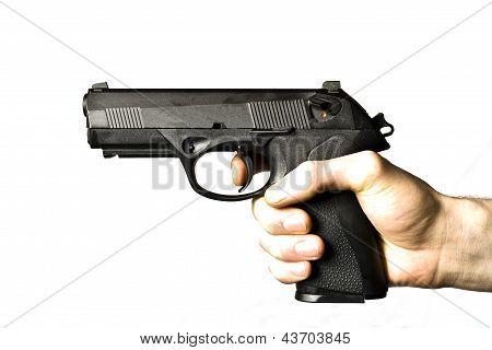 Man Shooting .45 Caliber Pistol Isolated On White