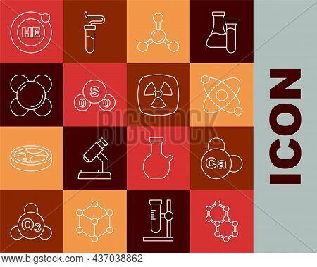 Set Line Molecule, Mineral Ca Calcium, Atom, Sulfur Dioxide So2, Helium And Radioactive Icon. Vector