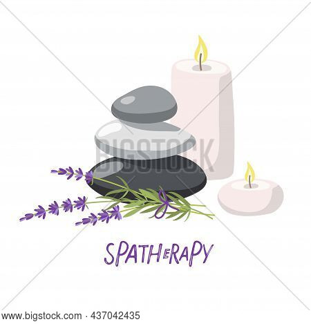 Spa Therapy. Composition With Massage Stones, Candles, Lavender Plant In Fashionable Modern Style In