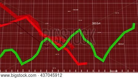 Image of lines financial data and statistics processing over grid. digital interface finance connection and communication concept digitally generated image.