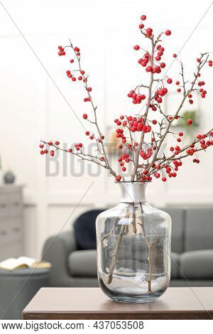 Hawthorn Branches With Red Berries On Table In Living Room