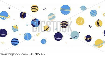 Seamless Vector Border Planets Outer Space. Galaxy Repeating Background. Cute Childish Planet Illust